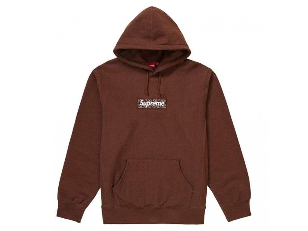 Supreme Bandana Box Logo Hooded Sweatshirt Dark Brown